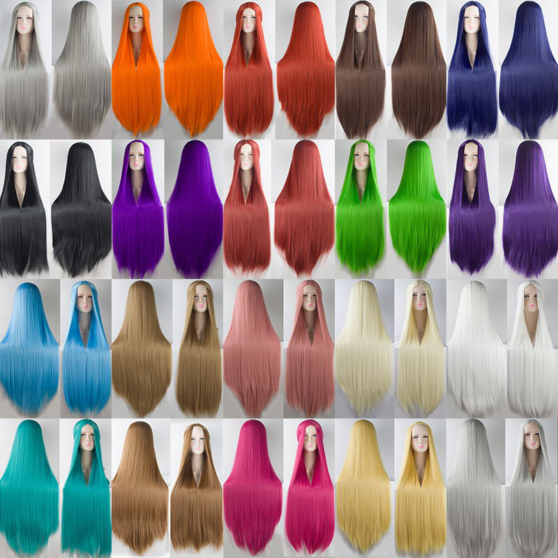 WTB Long Straight Cosplay Wig High Temperature Fiber Synthetic Hair 100Cm Anime Party Wigs 20 Color Colourful