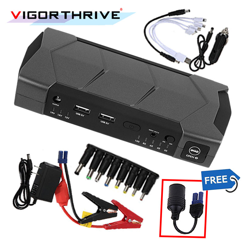 For Car Starting Device With flashlight and Hammer Portable Toolbox 12V Mini Car Jump Starter Booster Battery Charger Power Bank practical 89800mah 12v 4usb car battery charger starting car jump starter booster power bank tool kit for auto starting device