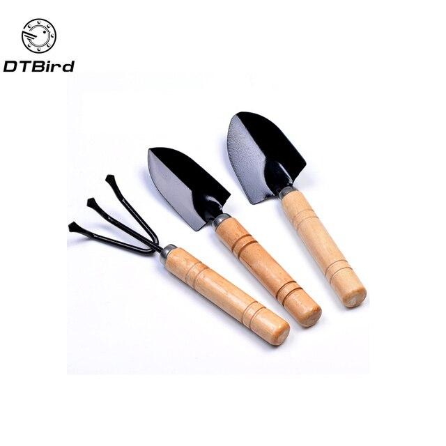 3 шт. мини наборы садовых инструментов мини лопата грабли Лопата Erramientas бонсай набор инструментов металлическая деревянная ручка головка для цветов Горшечное растение
