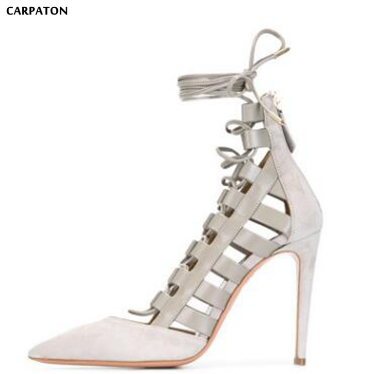 Carpaton 2018 Newest Ankle Strap Solid Thin high heels Flock Leather Pointed Toe Casual Style Summer Explosive Women sandals newest women solid color flock leather