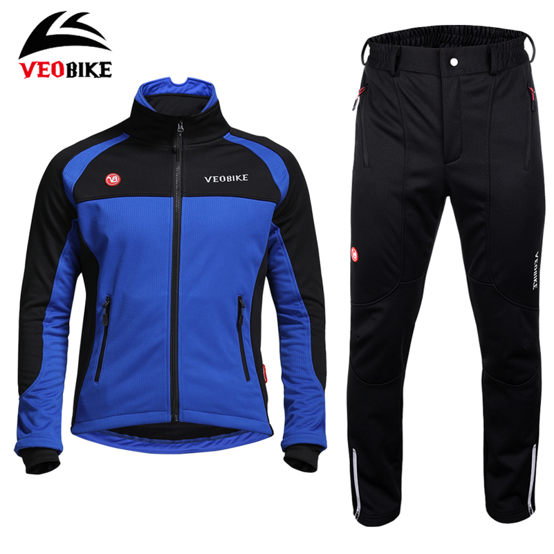 VEOBIKE Bike Jersey Set Sport Men's Windproof Long Sleeves Clothing Winter Fleece Thermal Cycling Bicycle Jersey Jacket Suit veobike winter thermal brand pro team cycling jersey set long sleeve bicycle bike cloth cycle pantalones ropa ciclismo invierno