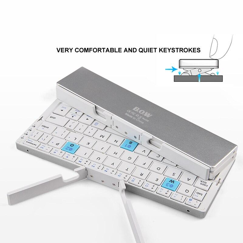 ipad mini black B.O.W Ultra Slim Mini Foldable Bluetooth Keyboard For iPhone X 8 7 6S 6 Plus, iPad Mini/Pro / Air, Samsung Smartphones, Black (5)