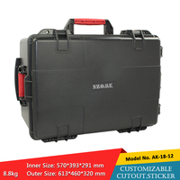 waterproof plastic hard tool carrying case pp and abs weatherproof equipment tool case with Sponge inside 613x460x320mm szomk