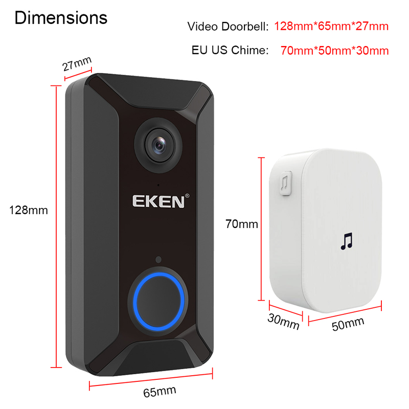 EKEN Smart Wireless Doorbell Intercom with Camera for Home Security Monitoring 4
