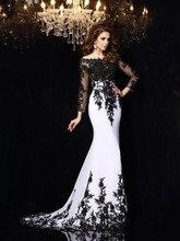 FG22 Vestido de festa Long Sleeve Black Lace White Mermaid Evening Dress 2016 Off The Shoulder Mother Of the Bride