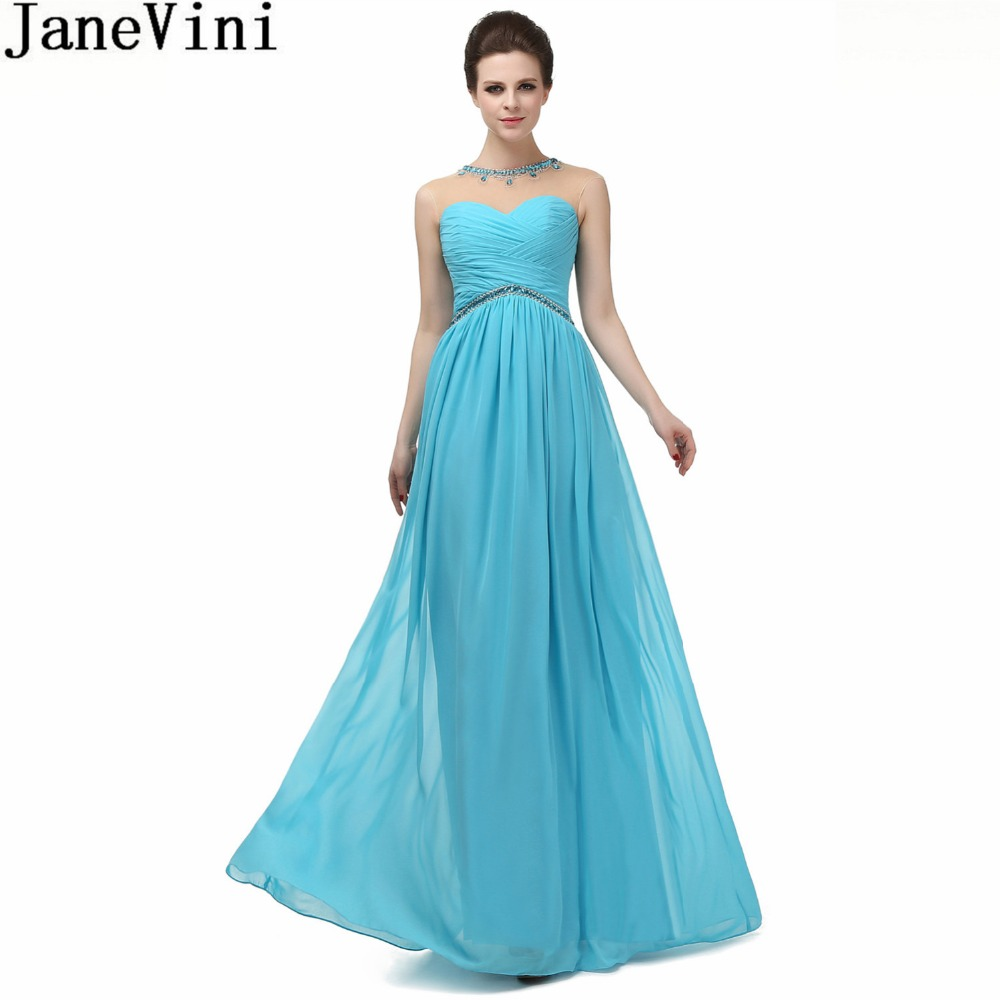 JaneVini 2018 Blue Long   Bridesmaids     Dresses   Plus Size Crystal Beaded Illusion Women Party Gowns Chiffon Formal   Dress   Damigelle