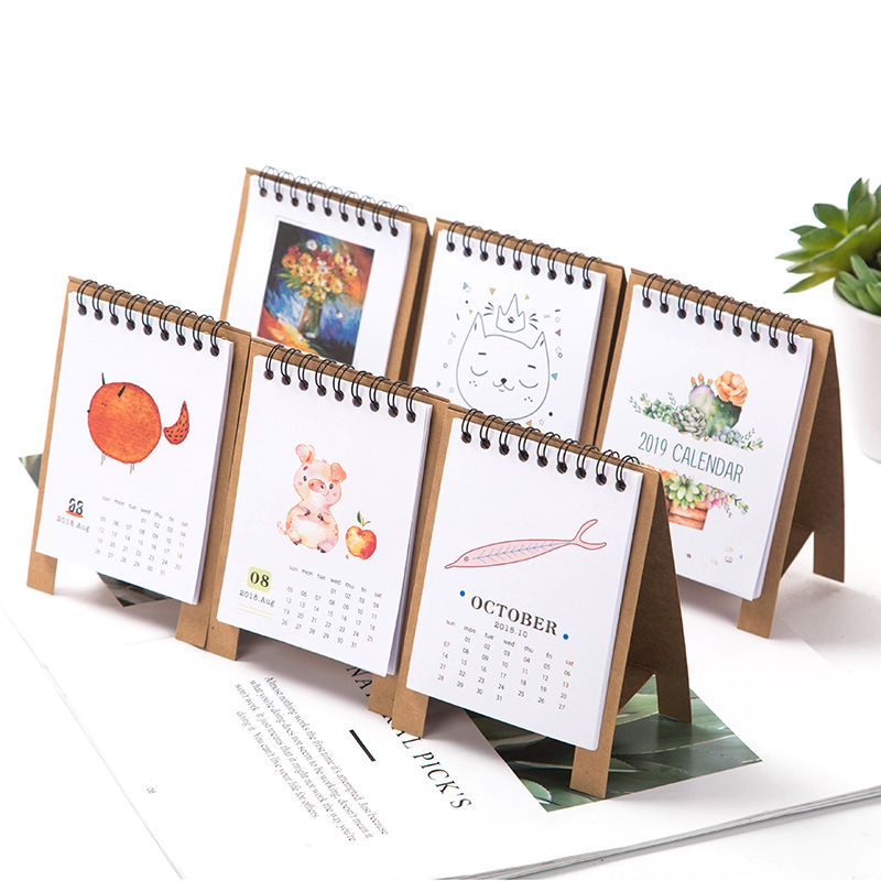 Calendar Office & School Supplies 2019 New Year Calendar 2019 Fashion Simple Lovely Mini Table Calendars Vintage Kraft Paper Desk Calendar Office School Supply