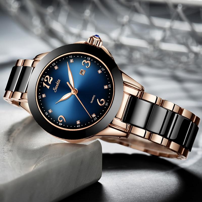 SUNKTA Fashion Women Watches Ladies Top Brand Luxury Ceramic Rhinestone Sport Quartz Watch Women Blue Waterproof Bracelet Watch in Women 39 s Watches from Watches