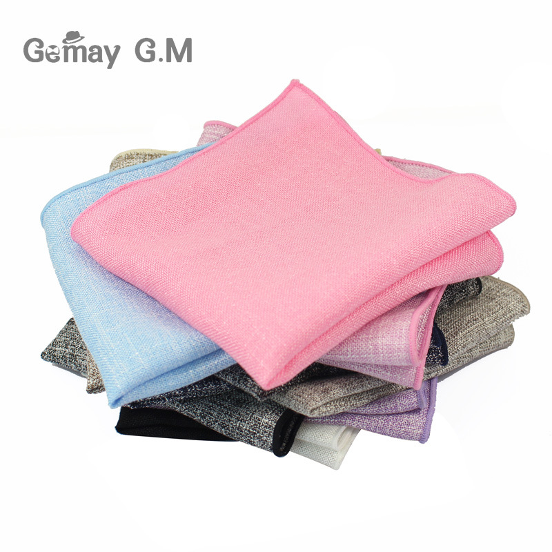 New Mens Cotton Handkerchiefs Woven Solid Hanky Men's Business Casual Pocket Square Handkerchief Wedding Hankies