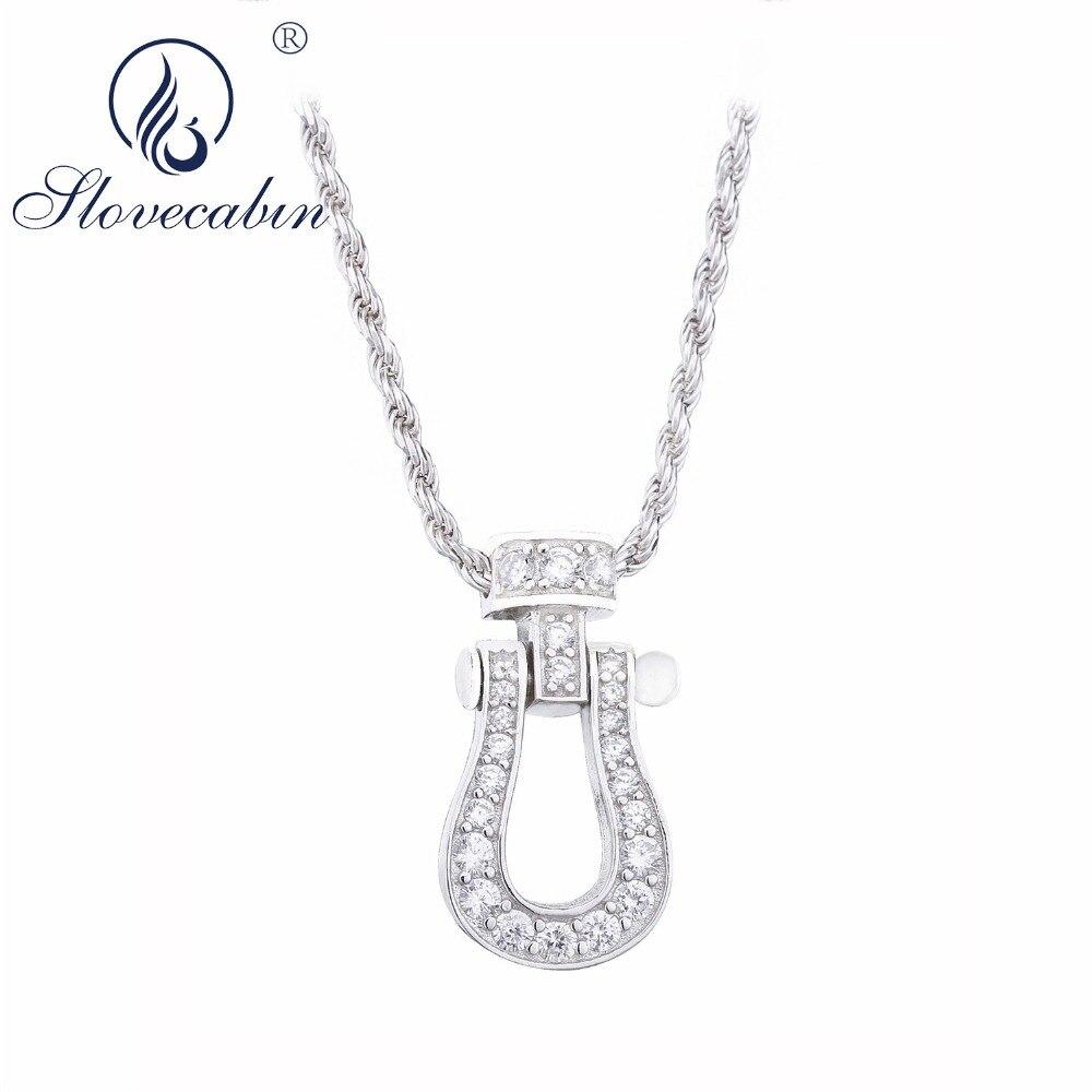 b4f3f425e5ba Moonmory 2018 europeo Bijoux Femme Horseshoes colgante collar de cadena  larga Mujer 925 plata esterlina CZ joyería regalo para hombres