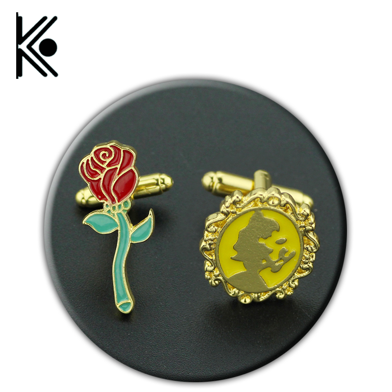Beauty and the Beast cufflinks Rose Stained jewelry Window round glass cufflinks send women 2017 Mothers day gift