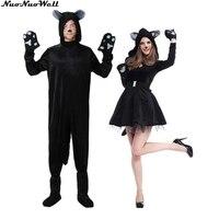 New Arrival Cute Black Cat Animal Jumpsuit Cosplay Halloween Costume Adult Garment Cartoon Jumpsuits Adult Couples' Animal Suit