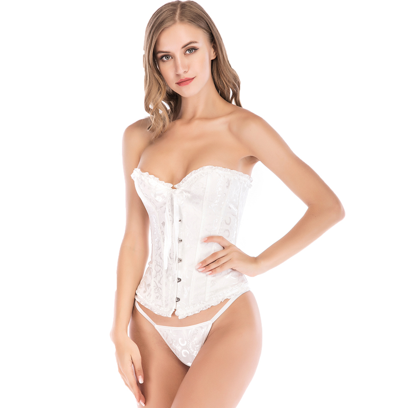 MYLEY Satin Bone Lace Up Steampunk Corset Sexy Bustier Women Corselet Corset and Bustier Corset Overbust Slim Corset Strapless