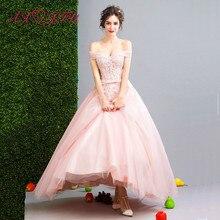 dfd03609ca AXJFU różowy frezowanie kwiat suknia wieczorowa bogini delikatne różowe  koronki wieczorowa dla panny młodej sukienka obiad