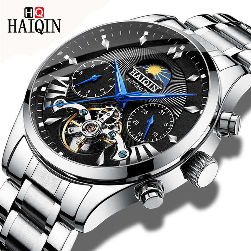 Watch Men HAIQIN Top Brand New Moon Phase Clock Business Waterproof Men Tourbillon Automatic Mechanical Watch