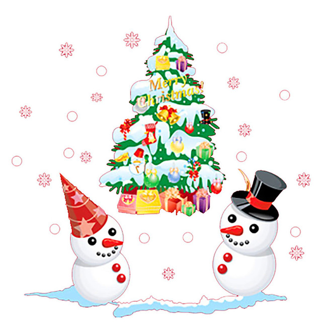 Removable Cartoon Christmas Tree SnowmanWall Sticker Static Cling New Year Shop Window Decal Decorations