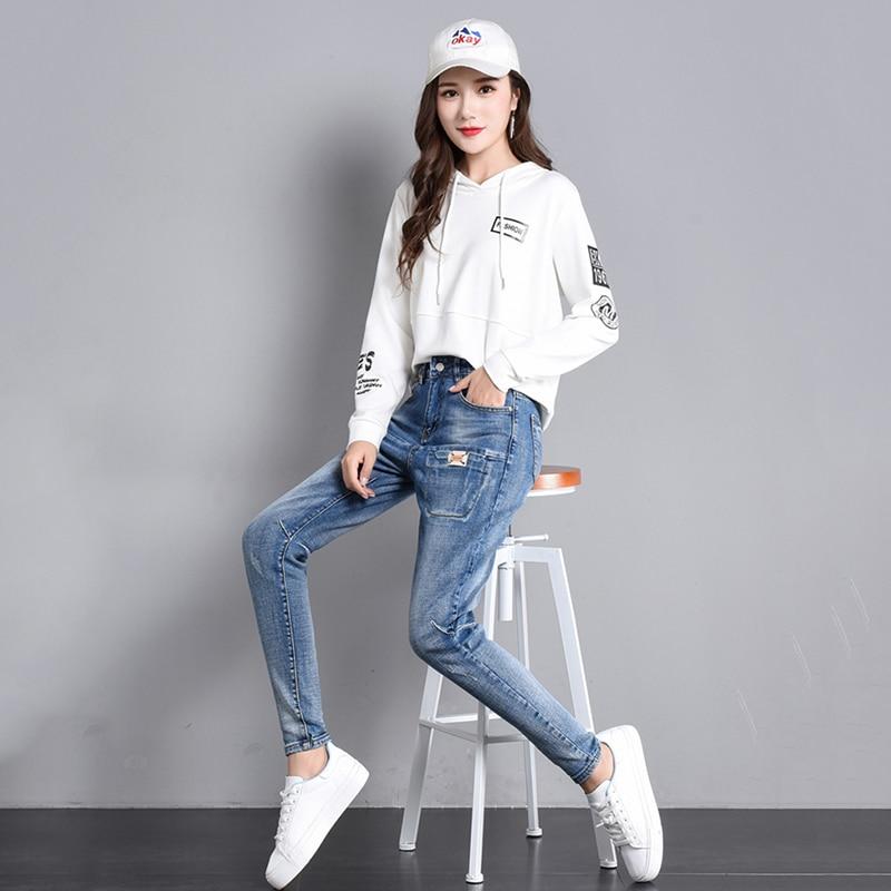e38c06158f Casual Pantalones Completa Alta Cintura Primavera Algodón Mujer Jeans light  Blue Elástico Lavado Denim Azul Dark Harem Otoño ...