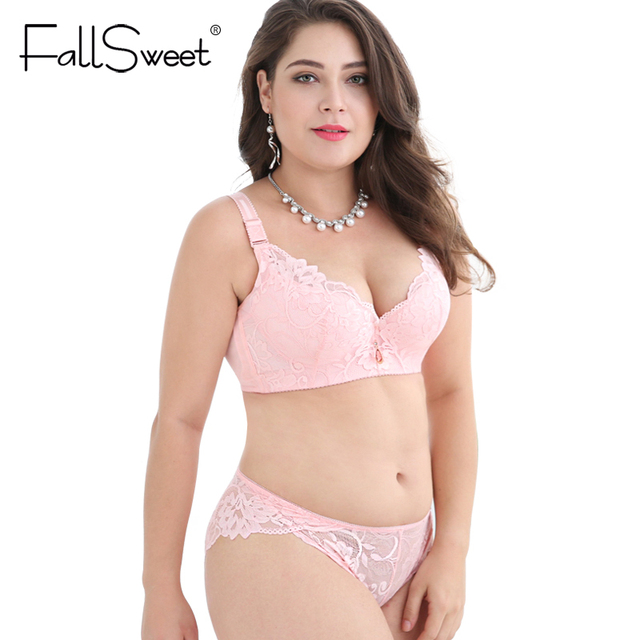 fallsweet plus size bra set push up bras and panty set wide back
