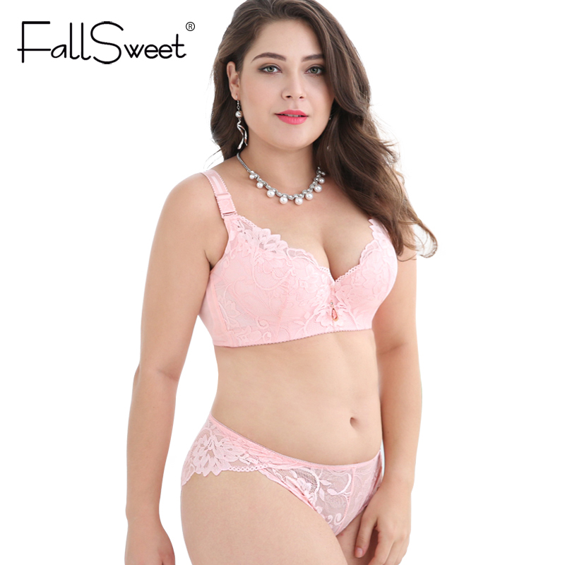 FallSweet Plus Size   Bra     Set   Push Up   Bras   and Panty   Set   Wide Back Underwire Lingerie   Set   White C D Cup XXXXL