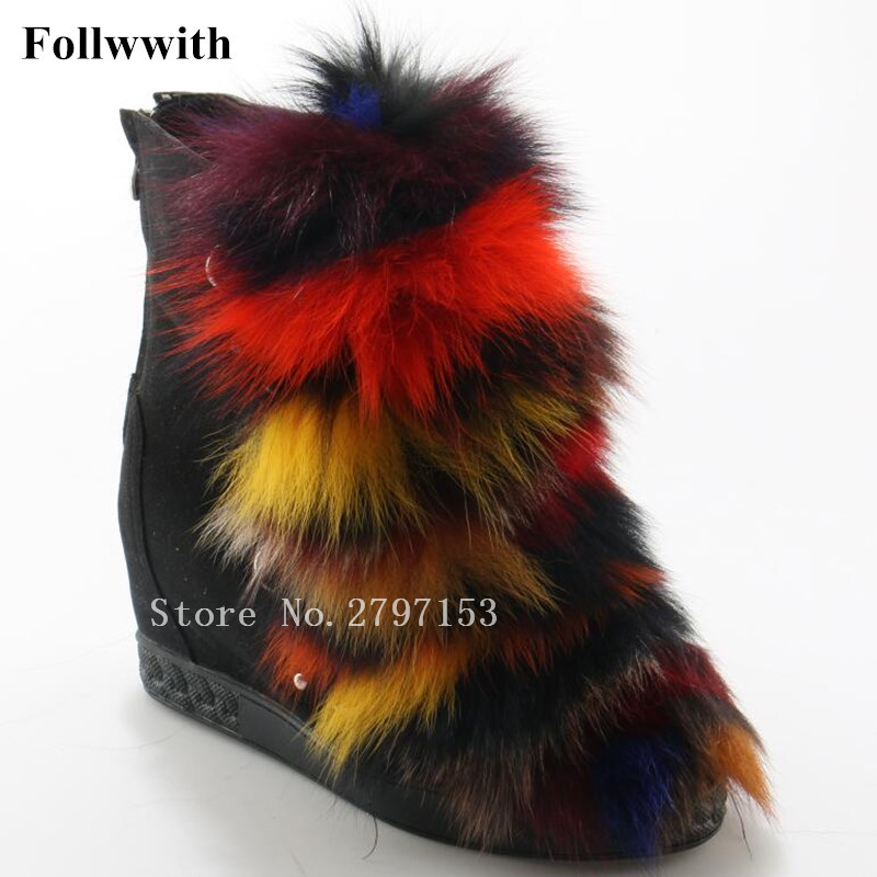 2018 Warm Winter Snow Mixed Color Fur Women Ankle Boots Flat Height Increasing Short Feather Platform Slip On Shoes Woman Mujer vtota women winter boots hot warm fur snow boots flat platform shoes women botas mujer ankle boots slip on shoes for women c72