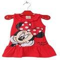 2017 Meninas Novas Do Bebê 2-6 Anos Vestido Da Menina de Verão Bonito Minnie Mickey Mouse Mangas do Vestido Da Menina Vestido Ocasional 46C