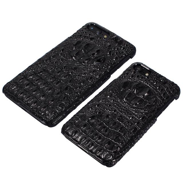 Real da pele do crocodilo case para iphone 7 7 plus luxo retro genuíno couro tampa traseira case para iphone 7 plus case