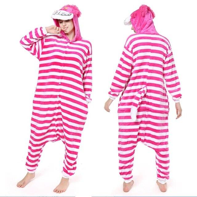 cf02557d0a9e Cheshire Cat Kigurumi Onesie Unisex Adult Sleepwear Pajamas Adult Animal  Rompers Sleepsuit Cartoon Cosplay Costumes Pyjama