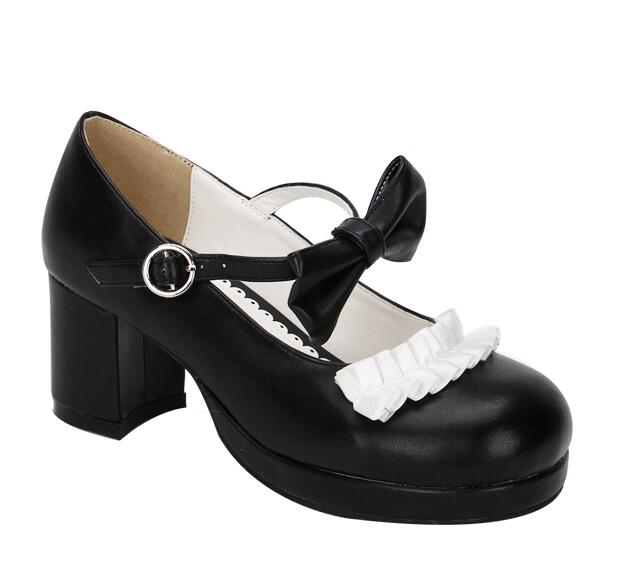 Negro Mujer Cosplay 44 Señora Tacones Lolita Chica Zapatos rojo Vestido Impresión 34 Bombas Gruesos Angelical Plataformas Mori Princesa Mujeres 5XqwxX1T