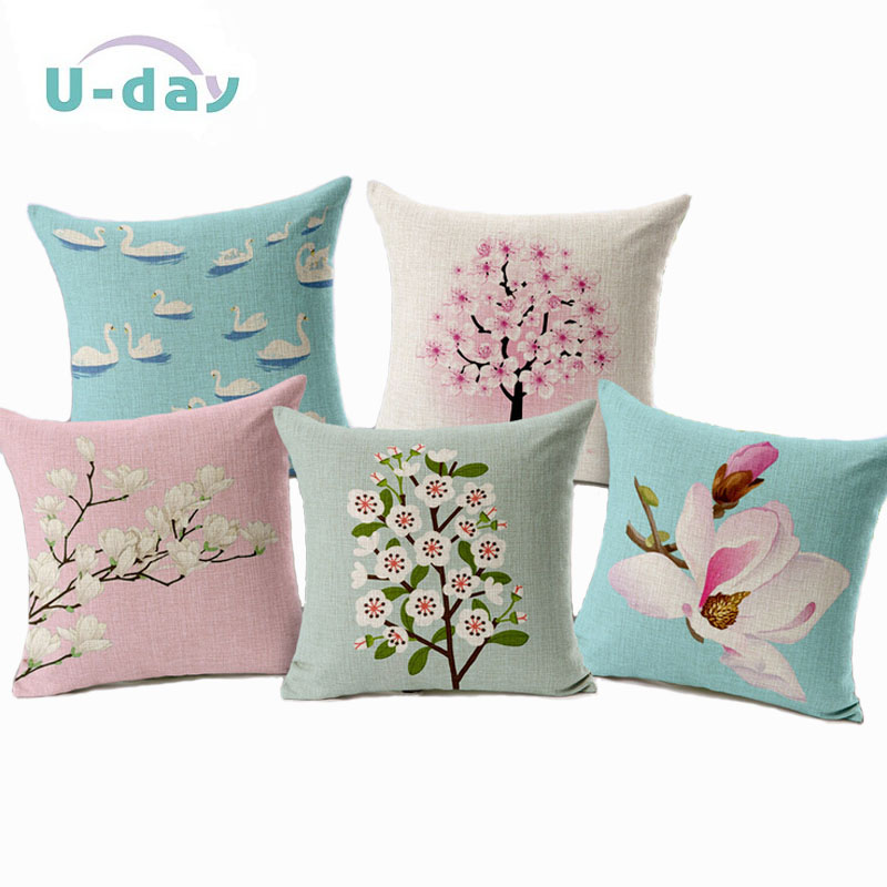 Flower Decorative  Pillows Home Car Tree Cushions Funda Cojines Wave Coussin Decoration CH5D07