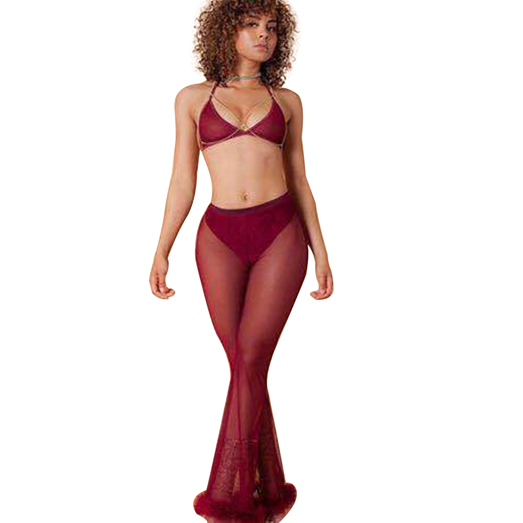 Sexy Mesh   Wide     Leg     Pants   Women Transparent Faux Fur Trim Flare   Pant   Fashion Female High Waist Loose Long Trousers Pantalon Femme