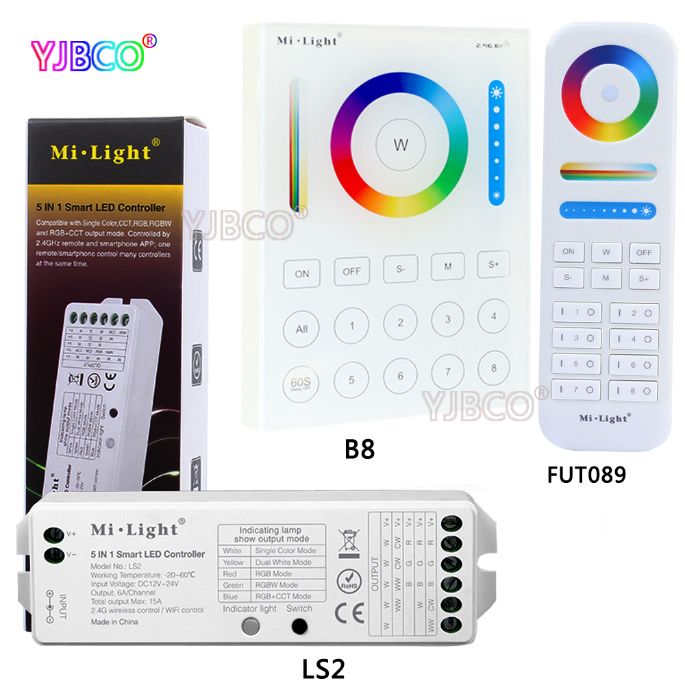 MiLight 2.4G wireless 8 Zone FUT089 remote;B8 Wall-mounted Touch Panel;LS2 5IN 1smart led controller for RGB+CCT led strip milight wireless ls2 5in1 smart led controller b8 wall mounted touch panel control rgb cct led strip 8 zone rf remote controller