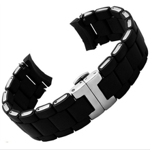 20mm 23mm NEW Black Mens Silicone Rubber Diver Watch Strap Band Bracelets Silver Butterfly Buckle For band  man woman