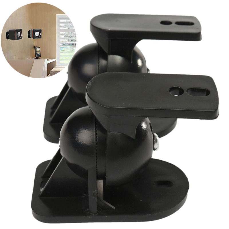Mayitr 2pcs Black Surround Sound Speaker Wall Mount High Quality Rotatable Wall Brackets  for TV