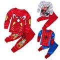 2016 новое поступление мальчики дети 2 уик мультфильм установить паук / железный человек ночная Sleepwear пижамы установить 3 стили бесплатная доставка