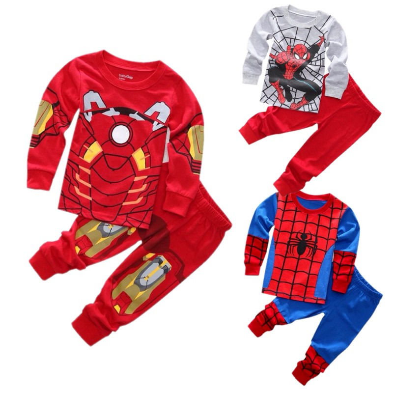 2016 New Arrival Baby Boys Kids 2 Pecs Cartoon Set Spider/ Iron man Nightwear Sleepwear Pajamas set 3 styles Free Shipping