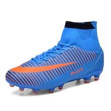 2016 Gran Tamaño de Los Hombres Tacos de Fútbol Para Hombre de Tobillo de Fútbol zapatos de Cuero Botas De Fútbol Con El Tobillo Hombres Botines de Fútbol de Fútbol botas
