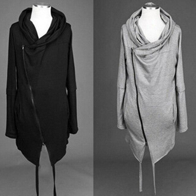 Men thin tính cách nghiêng dây kéo chiếc áo choàng trùm đầu hộp đêm đi đường hoodies mens gothic phong cách áo hip hop sweatshirt dài coat