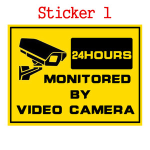 Image 1 - 1pcs Security Warning Stickers 24 Hours Safety Alarm Warning Decal Signs Surveillance Camera Mark CCTV Alert Sign Stickers
