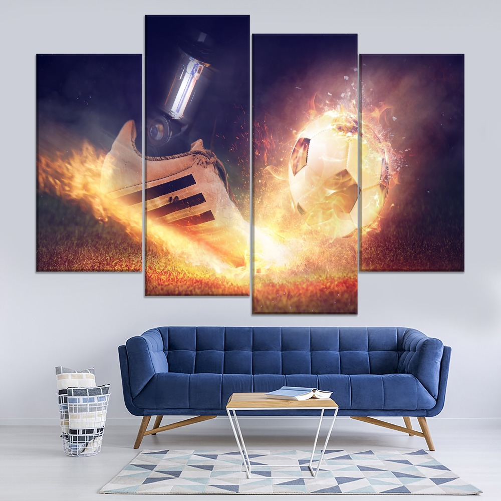 Football Shoe And Football Abstract Fire Smoke Painting 5 Piece Modular Style Picture Canvas Print Type Decor Wall Art Poster in Painting Calligraphy from Home Garden