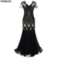 YIDINGZS Black Golden Long Prom Gown Beaded Sequin Formal Evening Dress With Sleeve