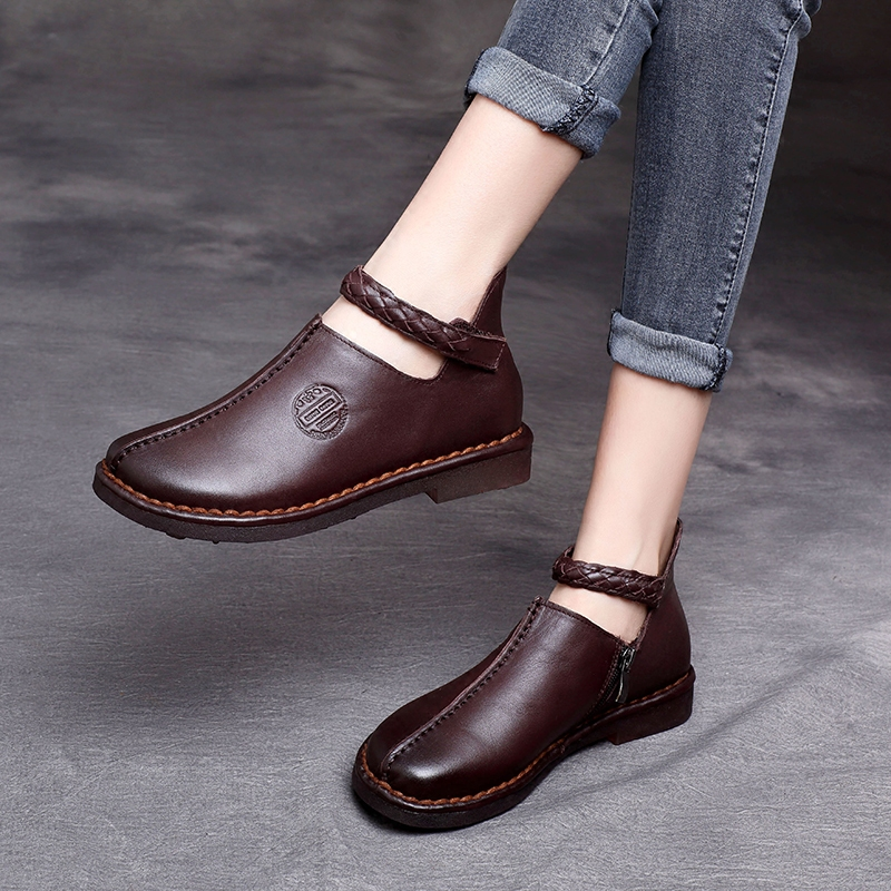 e7d1b5ca51356b Tyawkiho Genuine Leather Women Flats Ankle Strap Low Heel Women Casual Shoes  Soft Bottom Retro Embroidery