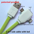 2 in 1 led usb cable Charging and data sync Applicable to free music ringtones mobile phones android mhl adapter jack cellulariy