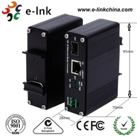 Hardened Mini type 1000Base T to 1000Base X SFP Industrial Ethernet Media Converter with PoE+