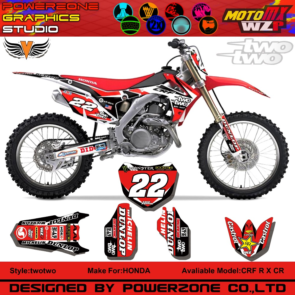 CR CRF 250 450 CR250F X CR450F FX 22 Style Customized Graphics Background Decals Stickers Motorcycle Dirt Bike MX Racing Part