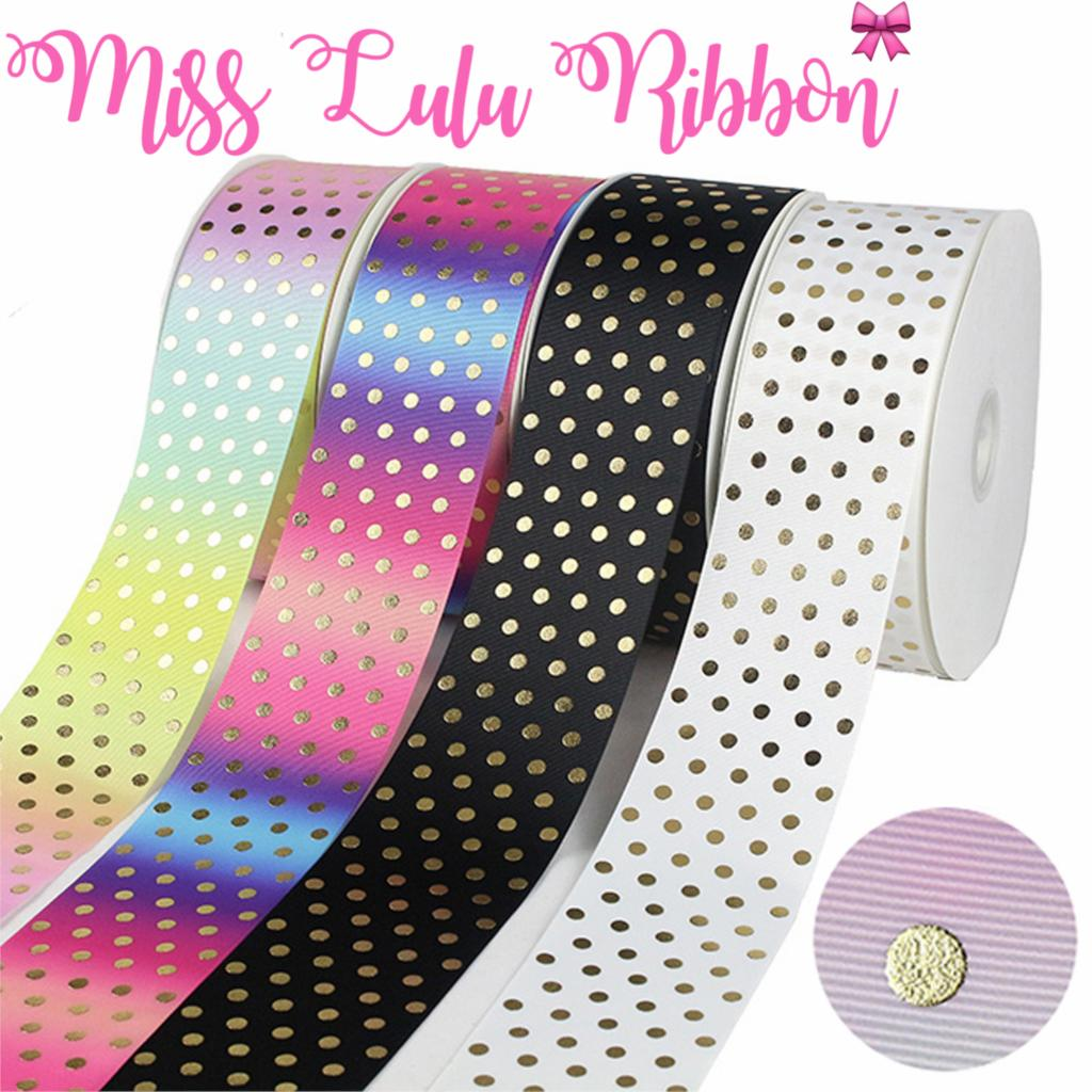 3 75mm Gold Foil Dots Rainbow Gradient Color Printed Grosgrain Ribbon Solid Color DIY Bowknots Gift