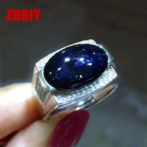 Men Natural sapphire gem ring man real 925 sterling silver black blue stone fine jewelry