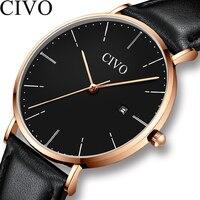 CIVO Модные мужские деловые часы лучший бренд Роскошные Аналоговые кварцевые часы мужские Ультра тонкие Водонепроницаемые кожаные часы Relogios