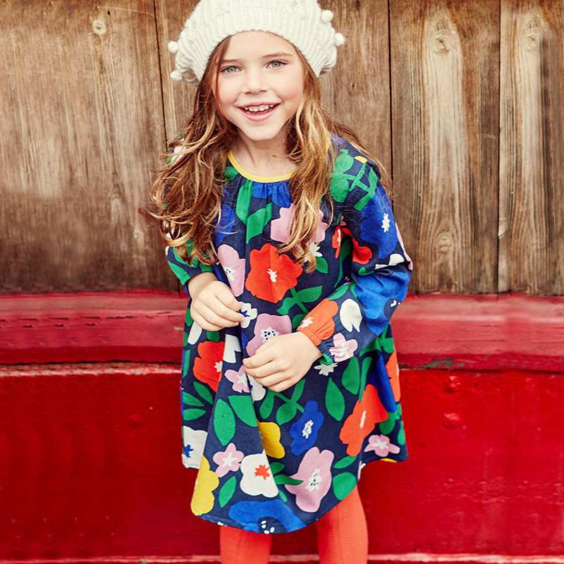 Kids Baby Girl Dresses 2018 brand jumping meters flowers knitted pure cotton children Clothing long sleeve kids dresses 2-7T