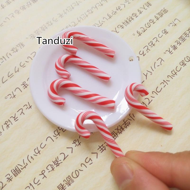 Tanduzi 50 pçs vermelho e branco feito à mão argila de polímero natal doces cane kawaii comida em miniatura casa de bonecas decoração da sua casa