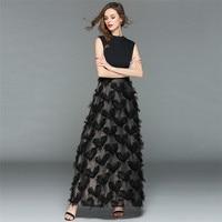 Summer Dress Women Black S 2XL Plus Size Ankle length Dresses 2019 New Party Tassel Feathers Maxi Dress Vestidos Feminina LR172